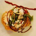 Tarte croustillante de légumes et pétales de langouste