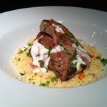 roast lamb cutlets, tomato and basil cous cous, mint and yoghurt sauce