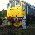 """My son Stood next to his favoutite loco """"Tamworth Castle"""" stored awaiting restoration at Cheddl"""