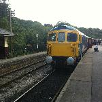 """Newly restored heritage Class 33 """"Sophie"""" prepares to depart Froghall station during the Diesel"""