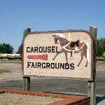 Sign pointing to Kit Carson County Carousel