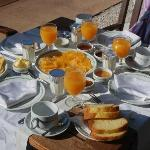 Breakfast was really lovely - fresh fruit, yoghurt, home made jams, pancakes and breads