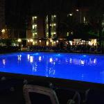 hotel pueblo benidorm pool at night