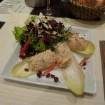 Starter with salmon and chicory
