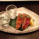Tuna and salmon tacos chased with sake shots rimmed with sugar