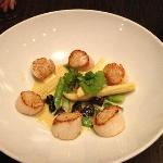 Scallops with corn, asparagus, and mushrooms