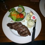 A tasty little steak with mash and a salad