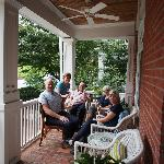Visiting with new friends on the porch