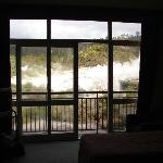 From inside the room looking out to the geysers
