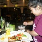My daughter enjoying her foods
