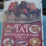 TAT menu depicting the famous camel wrestling