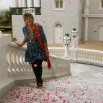 Rose petals shower on entry