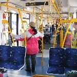 Aboard the tram.