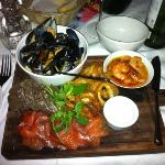 Sharing seafood platter