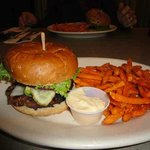 Bison burger with sweet potato fries.