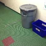 Garbage can in hallway
