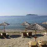Megali Ammos beach seen from the hotel garden