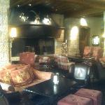 The fireplace in the Lounge bar area