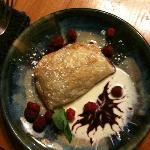 Fresh raspberry blackberry tart with creme anglaise