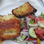 Lasange, garlic Bread and salad