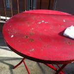 rusty table on the balcony