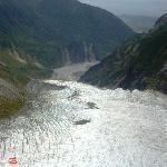 The glacier melting into river