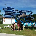 One of the many water slides
