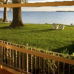 View from a Waterfront Queen Room & Porch at Sandaway in Oxford, MD.