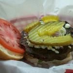 Black bean burger w/bleu cheese crumbles and pickle