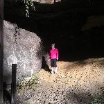 climbing the rocks near the tunnel in Norwalk