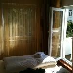 Our room, with balcony door
