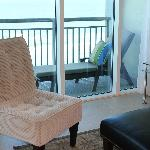 view from 912 living room to balcony & chaise lounge