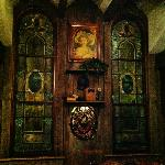 Stained glass windows by the bar