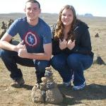 With one of the many cairns they built throughout Iceland.