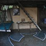 Interior view of the main room of Bungalow 1 -- love the hammock