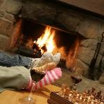 Relaxing in front of the fire.