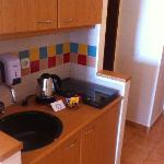 kitchen in hotel room