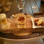 Dessert - lemon tart au verrine, tiramisu, fresh figues with vanilla ice cream