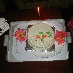 complimentry cake from the hotel in room