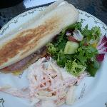 bacon and brie panini, salad and coleslaw delicious!!