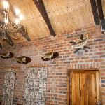Some of the fish mounts on the wall.