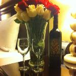 The wine and flowers waiting for us.
