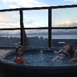 In the outdoor jacuzzi