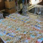 Our pasta drying on the table waiting for lunch time!
