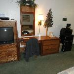Tv; DVD player; writing area; Fridge; Microwave