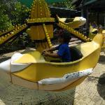 He loves the banana ride