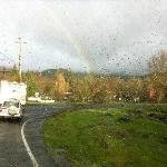 It was a sporadically raining and sunny day, giving us a rainbow!