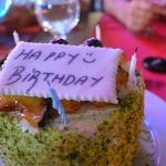 it was my birthday and they made me this cake with layers of fresh cream and fruit