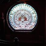 gorgeous stained glass window on landing