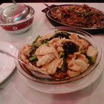 Pan-fried noodle with squid, shrimp, and scallop; black pepper shrimp